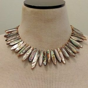 Abalone shell bead toggle necklace